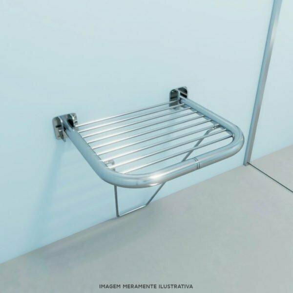 Banco articulado para banho com assento em gradil - medida 54 x 48