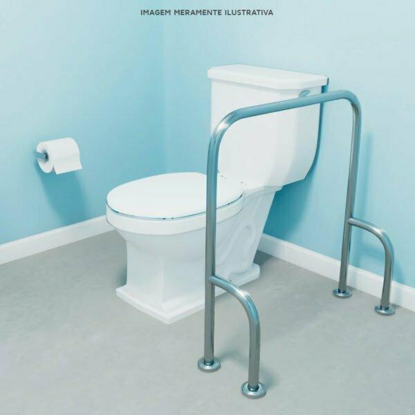 Barra de apoio fixa piso para vaso sanitário
